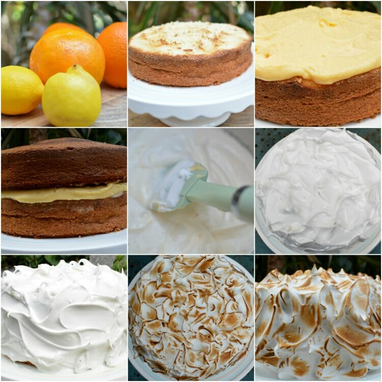 Tarta De Naranja Y Lemon Curd Vesrida De Merengue Collage 01
